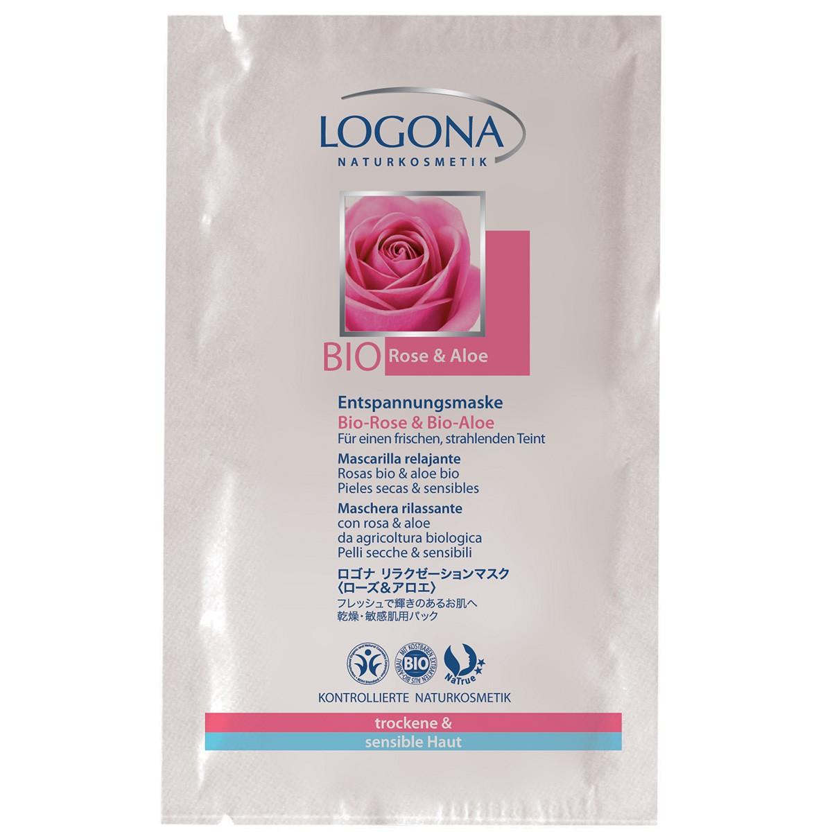 Logona Mascarilla Relajante Rosas y Aloe Vera, 2 Sobres
